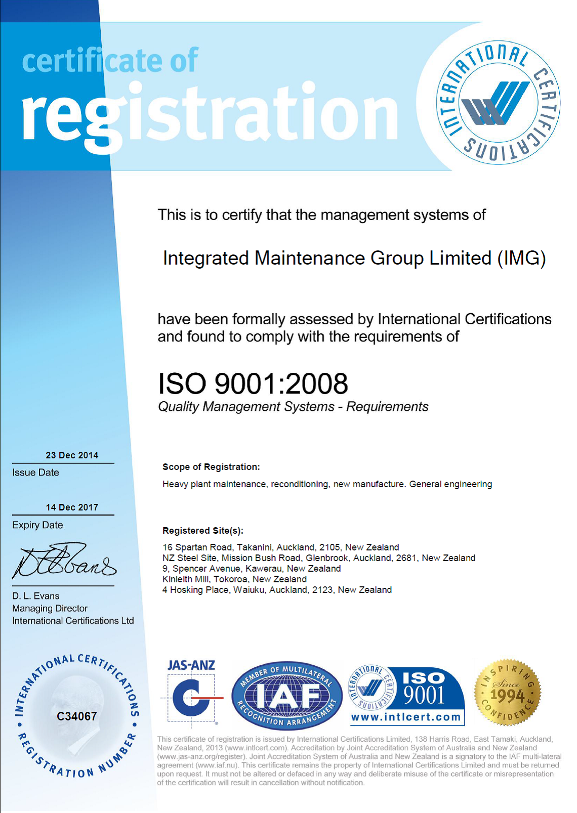 IMG Certificate of Registration